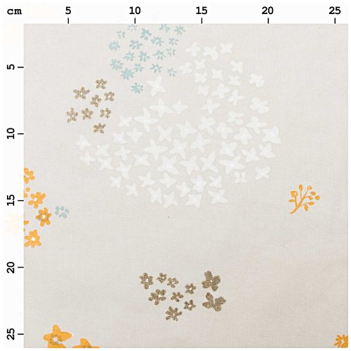 Baumwolle beschichtet - Blumen - grau metallic - Crafted Nature - Rico Design