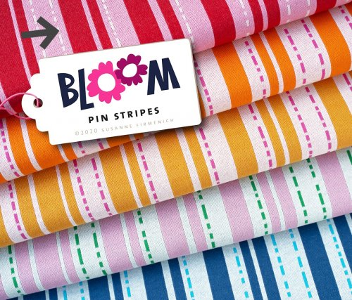 Bio Jacquard - Pin Stripes - Col.1 - flamme (rot) - Bloom - Hamburger Liebe - Albstoffe