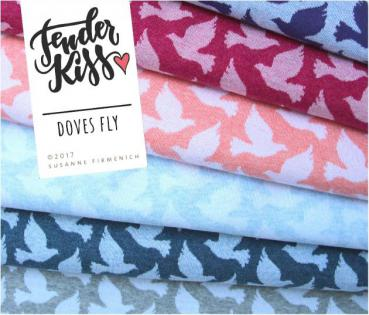 Bio Jacquard Doves Fly - dunkelpink/rosa - Tender Kiss - Hamburger Liebe