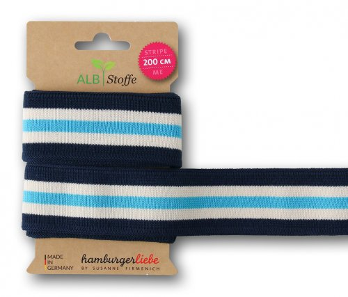 Bio Stripe Me - College Col. 38 - blue navy/meringa/türkis - Bliss - Hamburger Liebe