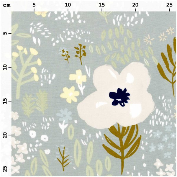 Baumwolle - Blumen - grau metallic - Crafted Nature - Rico Design